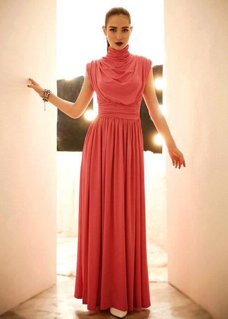 Elegant Sleeveless Turtleneck high Waist Red Maxi Dress