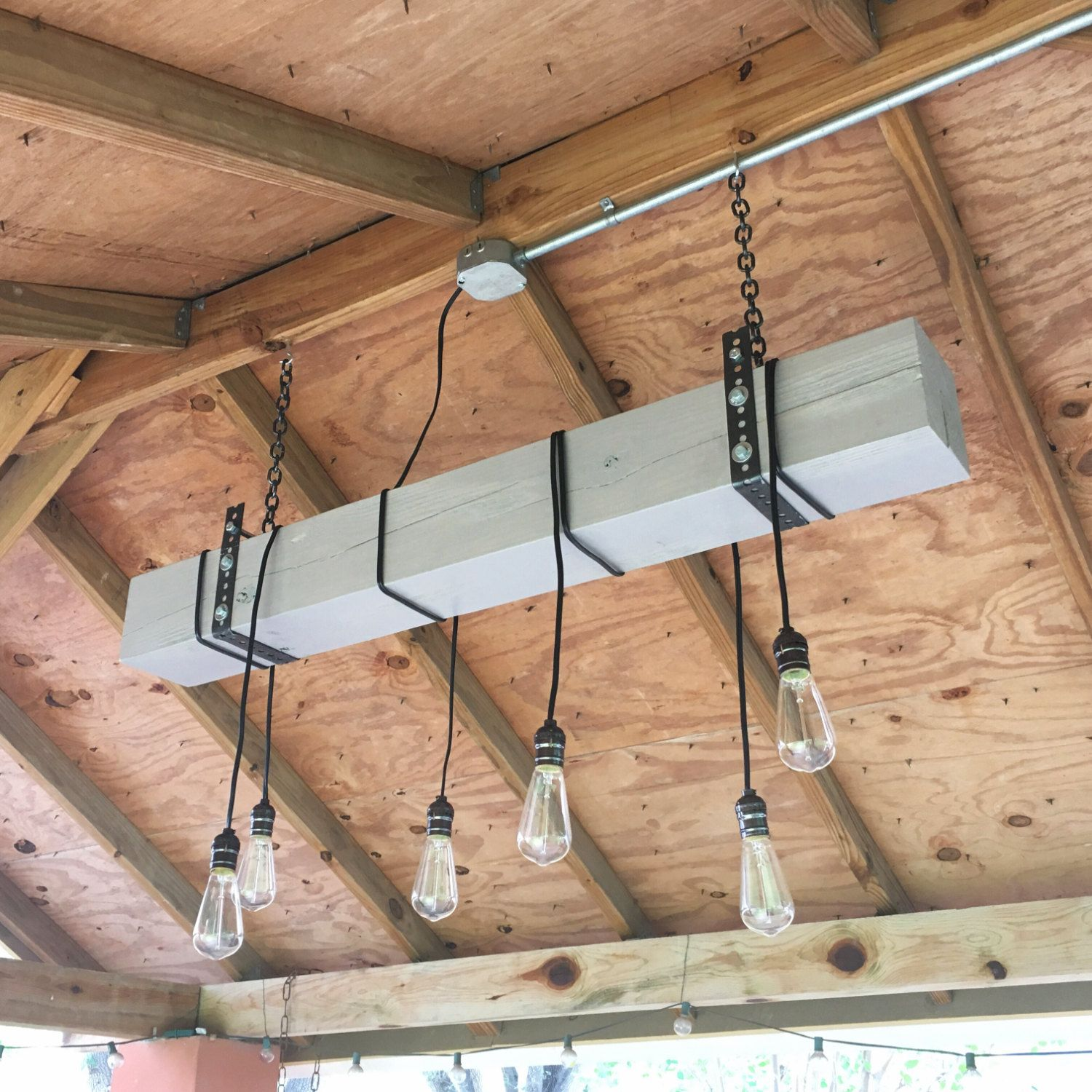 Gray Blue Natural Wood Beam Chandelier