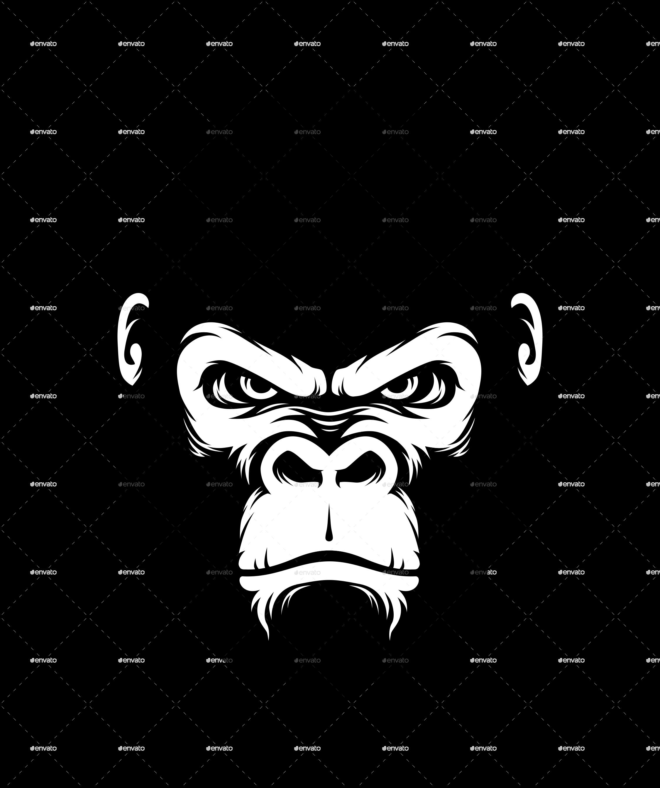 Gorilla Head Silhouette Style Monkey Art Gorillas Art Gorilla Illustration