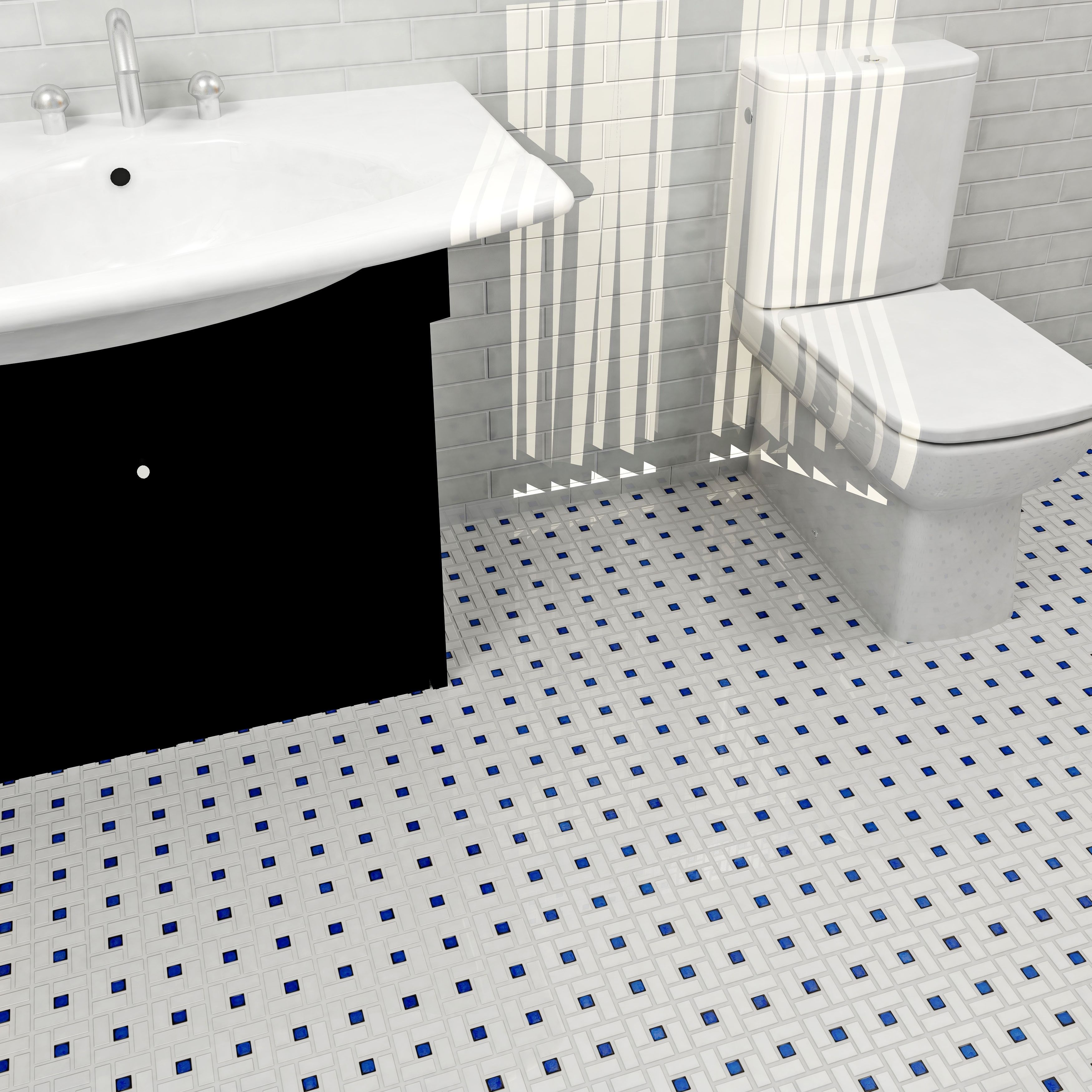 With a clean white and cobalt pattern this somertile porcelain with a clean white and cobalt pattern this somertile porcelain mosaic tile adds a modern look to home or office floors measuring inches square dailygadgetfo Choice Image