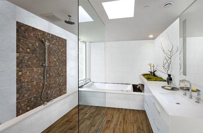 Salle de bain by aparici d cor mural maron carrelage enligne carrelage d cor mur - Decor mural salle de bain ...