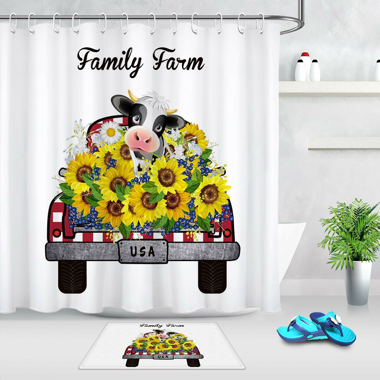 """Funny Skull Sunflowers Gold and Black Waterproof Fabric Shower Curtain Set 72/"""""""