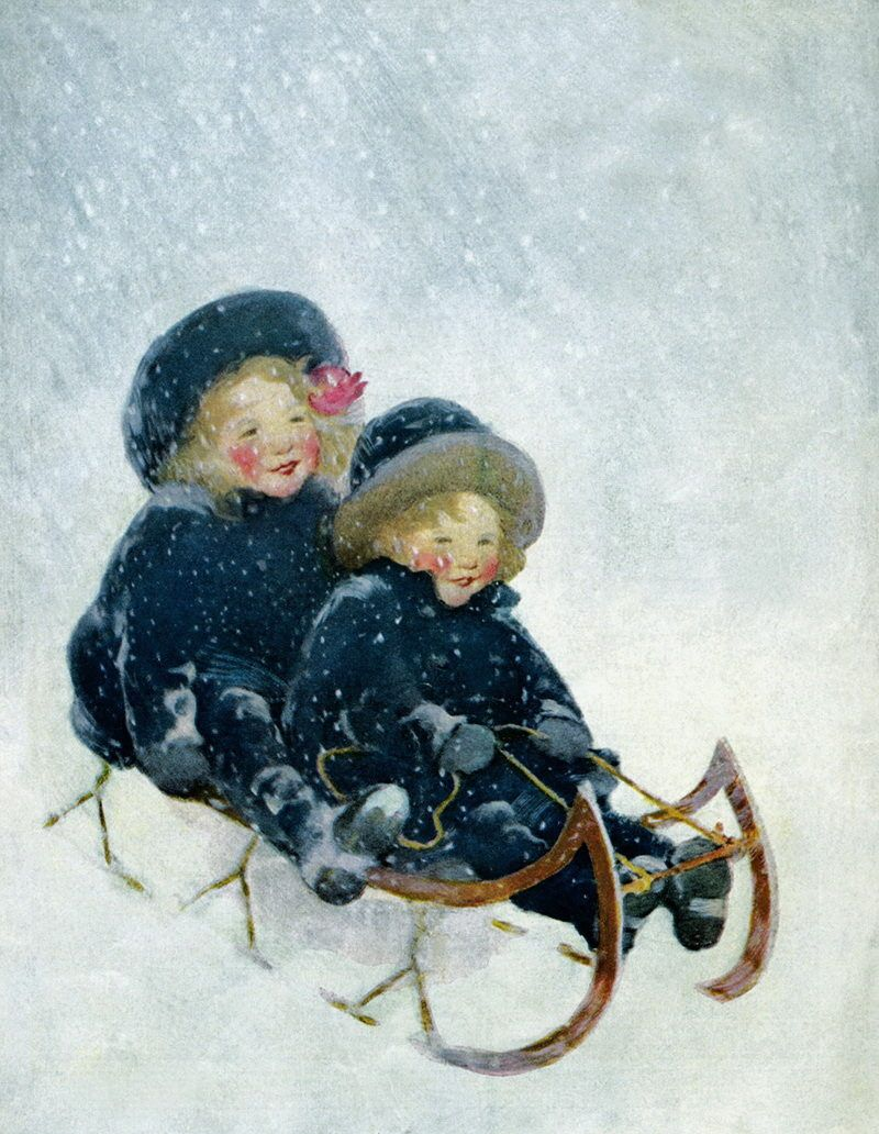 Про, открытки дети зимой