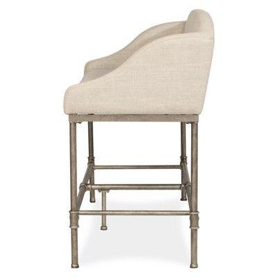 Astounding Dillon Counter Height Bench Metal Pewter Silver Woven Inzonedesignstudio Interior Chair Design Inzonedesignstudiocom