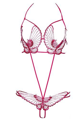 GIVE ME MORE Women's See- Through Sexy Lingerie With Butterfly Look For Sex (Pink)