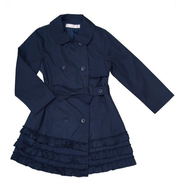 Biscotti Ship Shape Girl's Trench Coat with Ruffled Hem ($92) ❤ liked on Polyvore