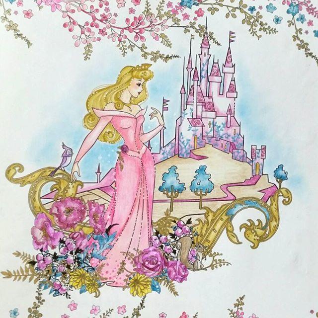 大人の塗り絵ディズニーガールズオーロラ姫眠れる森の美女コロ