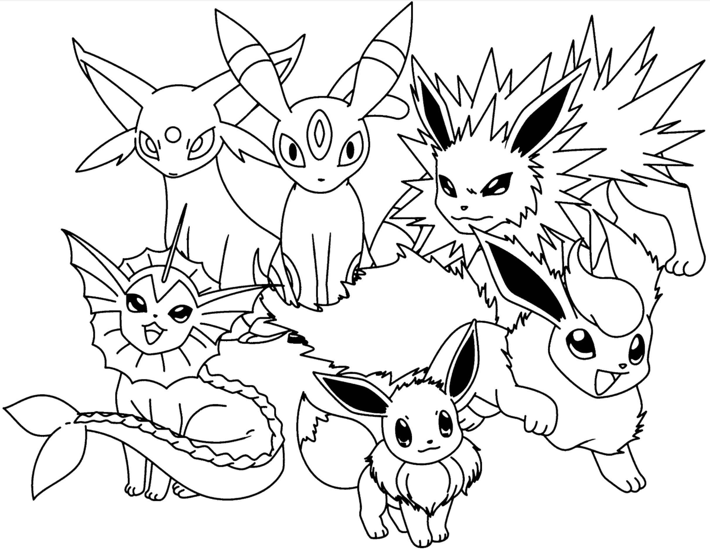 Pokemon Coloring Pages Eevee Evolutions Together  Pokemon