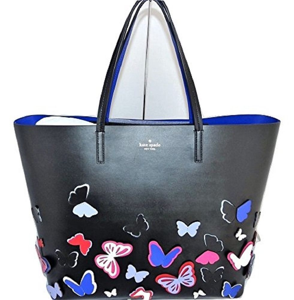 b3eaeec40f4f Kate Spade Len Show Your True Colors Leather Butterfly Tote Shoulder Bag  Black  katespade  TotesShoppers