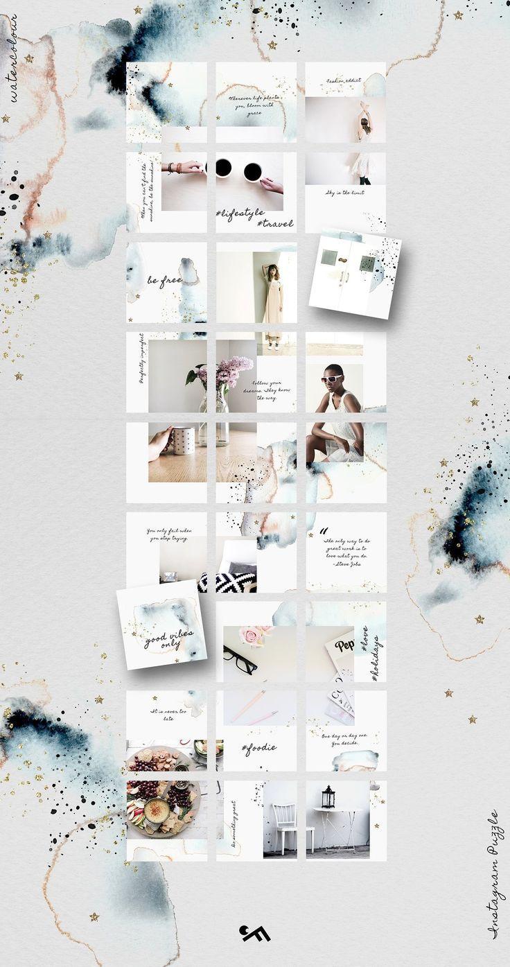 Instagram Puzzle Template Watercolor Dengan Gambar Desain Web