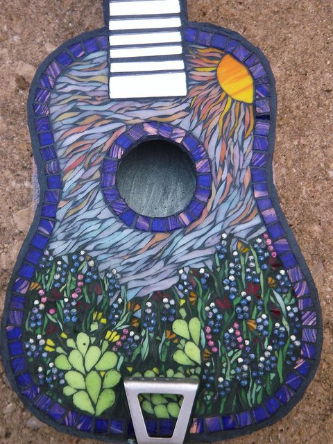 guitar wall decor.htm bluebonnet blues guitar front mosaic projects  mosaic glass  mosaic  mosaic projects  mosaic glass  mosaic