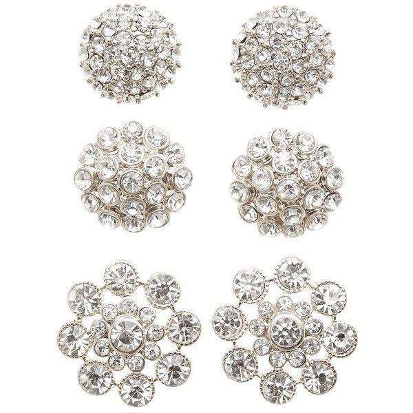 Charlotte Russe Embellished Oversize Stud Earrings - 3 Pack ($6) ❤ liked on Polyvore featuring jewelry, earrings, silver, post earrings, rhinestone stud earrings, oversized stud earrings, oversized jewelry and charlotte russe