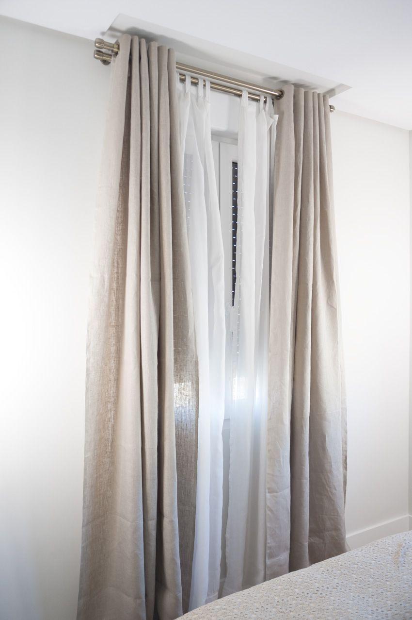 Colocar barra de cortina doble | visillos de habitacion