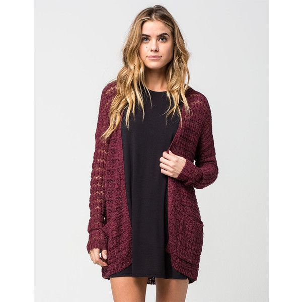 Full Tilt Essential Womens Boho Cardigan (€27) ❤ liked on Polyvore featuring tops, cardigans, burgundy, open front cardigan, boho style tops, long sleeve open front cardigan, drop shoulder tops y boho chic tops