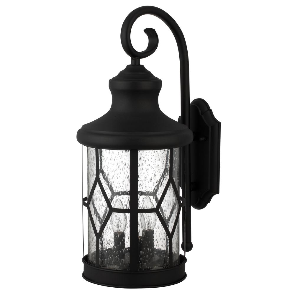 CANARM Atlanta 3-Light Outdoor Black Wall Lantern Sconce