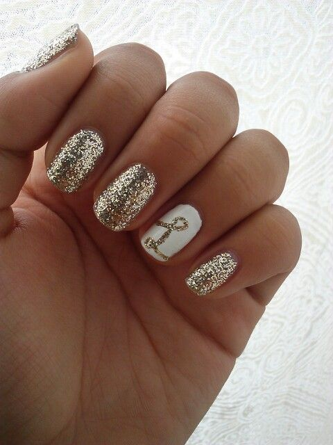 Letter Accent Nail With Gold Glitter Nails Gold Glitter Nails Prom Nails Nails