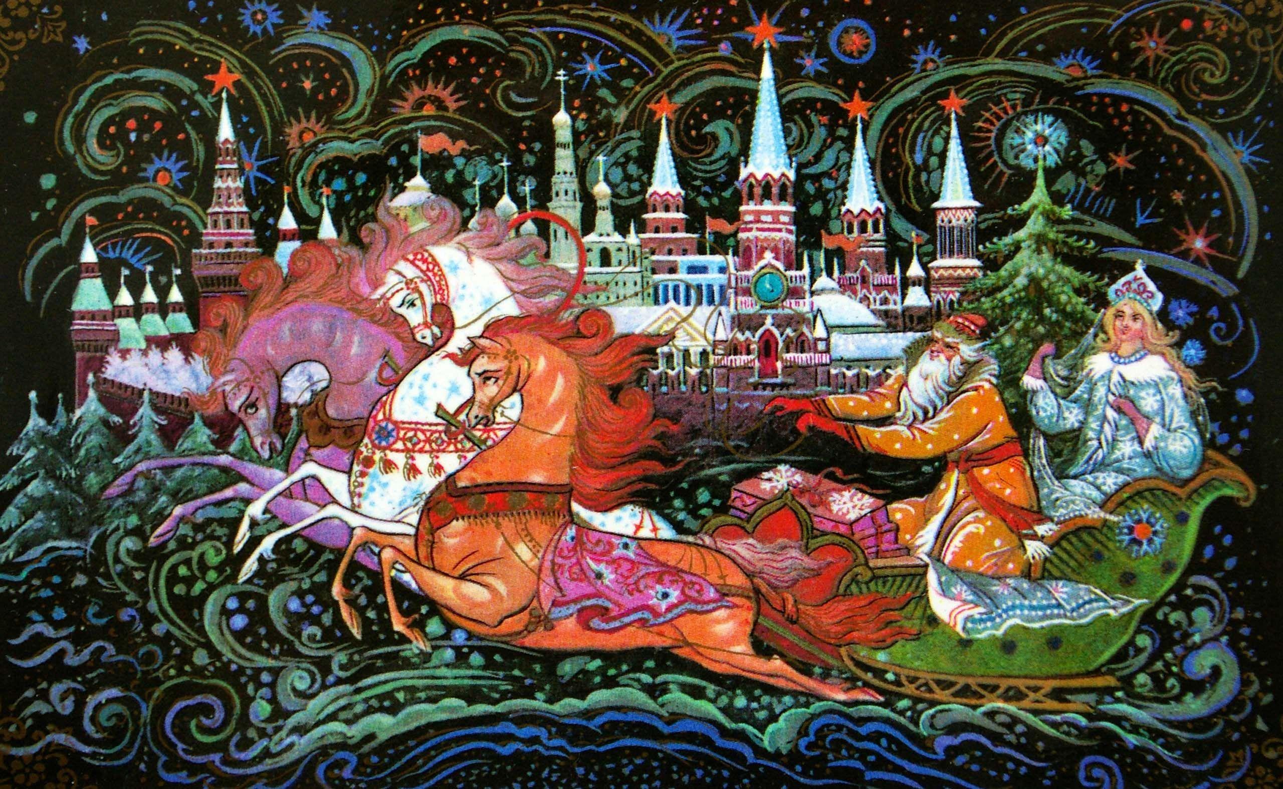 Новогодние открытки в русском народном стиле, надписью тише открытка
