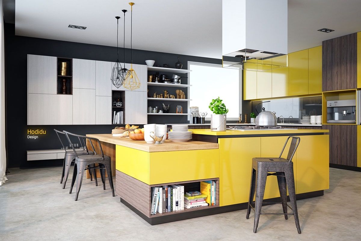 Kitchen: Modern And Spacious Kitchen Design White Cupboard And ...