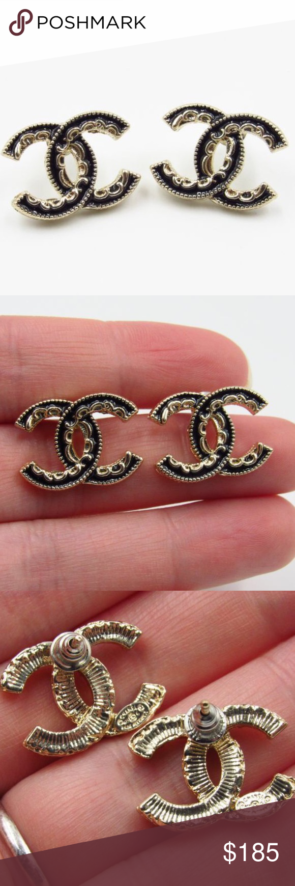 Chanel Black & Gold Earrings Gorgeous! Like new condition 😍 Stamped backs 👌🏼 Lace-like detail. Comes with generic dust bag 😊 Priced firmly to sell 💕 No trades or low balls please 💕 CHANEL Jewelry Earrings