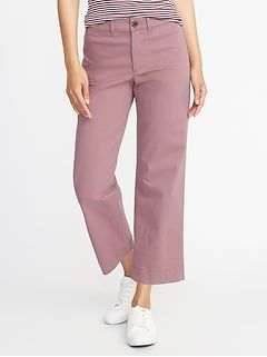 8afd8ca67 Mid-Rise Boot-Cut Khakis for Women in 2019 | stylish | Wide leg cropped  pants, Pants, Cropped chinos