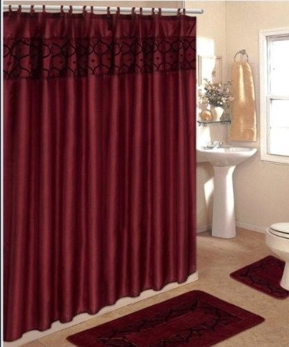4 Piece Bathroom Rug Set 3 Piece Burgundy Flocking Bath Rugs With Fabric Shower Curtain And Matching Mat Rings Pink Shower Curtains Bathroom Rug Sets Bathroom Shower Curtain Sets