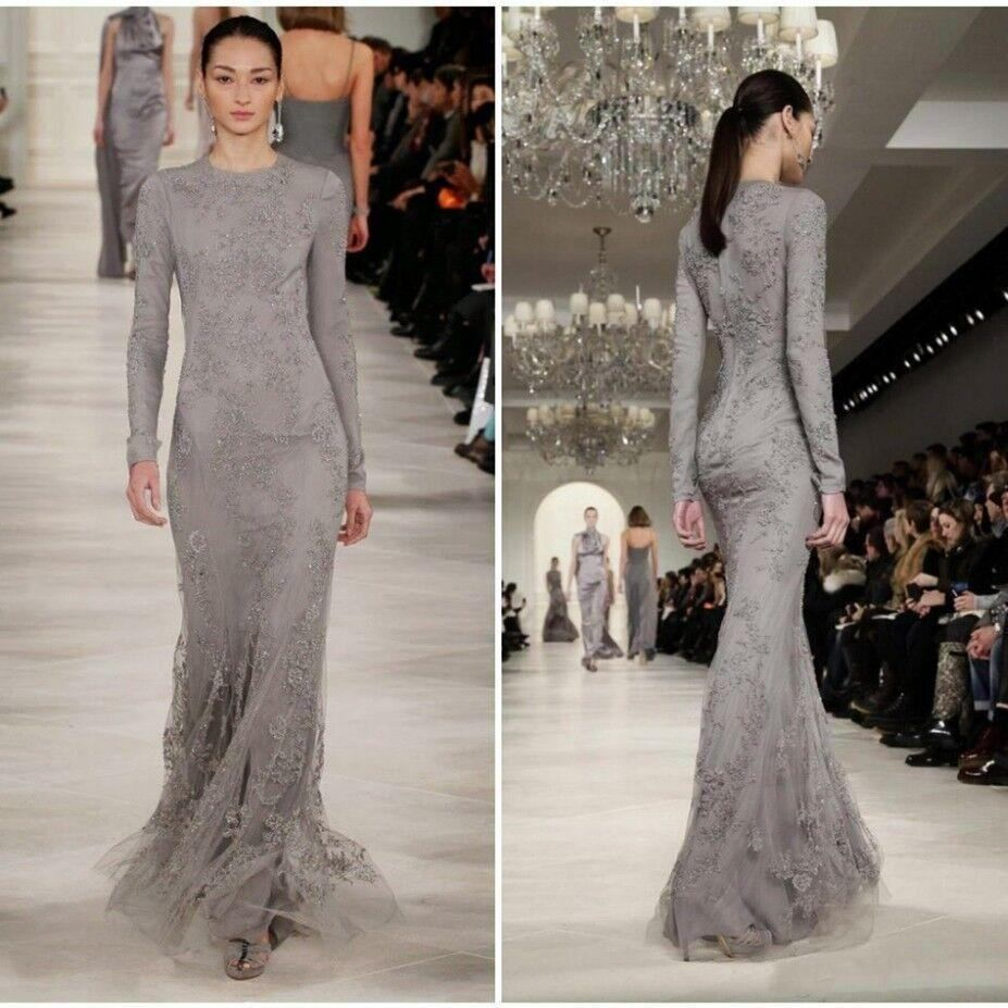 New Gray Evening Party Dresses Jewel Beaded Appliques Mermaid Prom ...