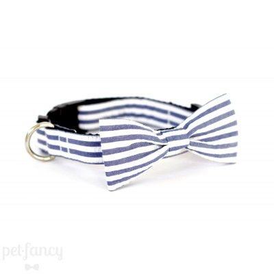 UsagiTeam Seersucker Stripe Blue Grey Bow Tie Collar | Pet Fancy