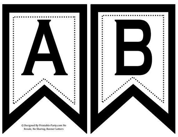 5x8 Inch Swallowtail Black Printable Banner Letters Printable Banner Letters Free Printable Banner Letters Printable Alphabet Letters