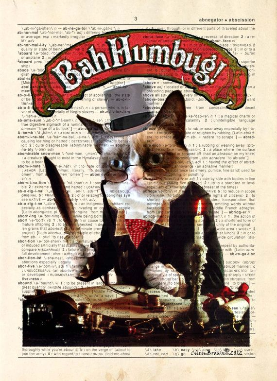 Dictionary Print Grumpy Cat Scrooge upcycled by