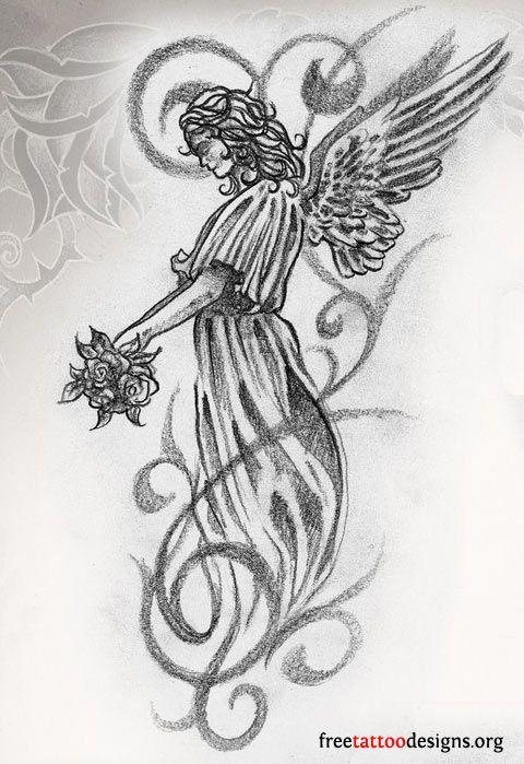 Female Guardian Angel Drawing : female, guardian, angel, drawing, Angel, Tattoos, Wings,, Guardian, Michael, Designs, Tattoo, Designs,, Memorial