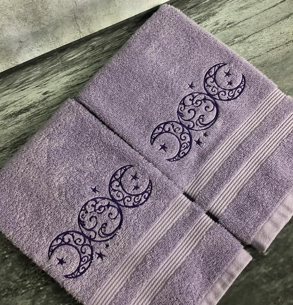 Triple moon hand towel set, Wiccan decor, witchy decor, bathroom decor, purple decor, embroidered towels