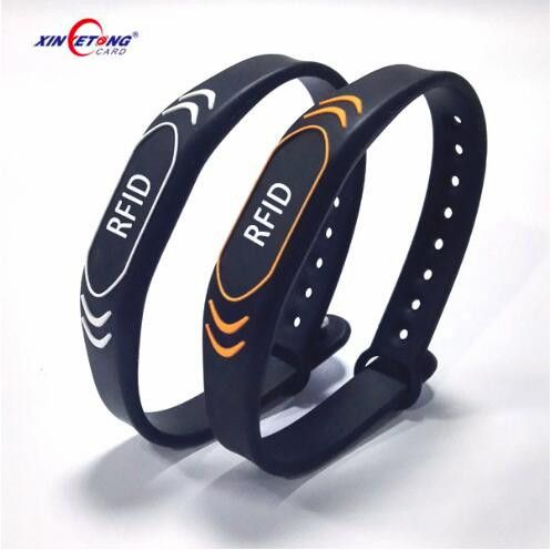 Access control NFC RFID paper woven silicone wristband