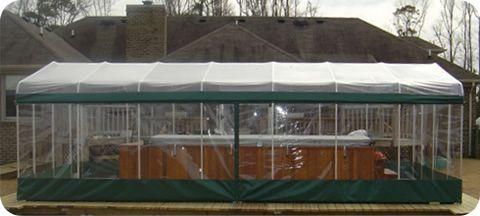 Spa Room Enclosure Covering A Swim Spa On Patio Deck
