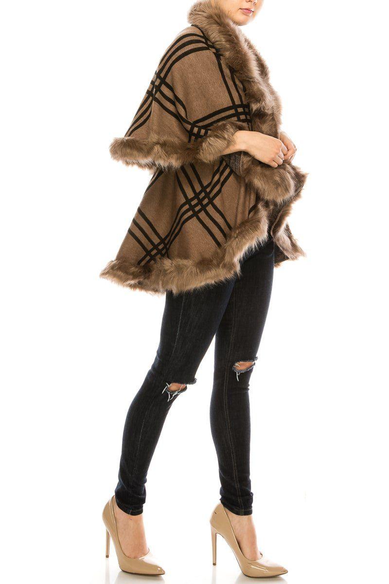 Checker Fur Pointed Double Layer Shawl Cape - Fashion Fantasia