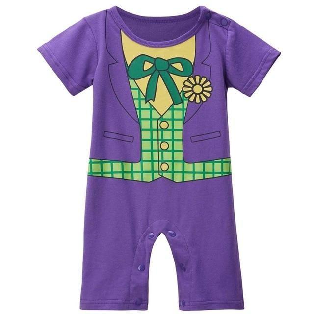 a311b2456d73 Baby Boy Joker Costume Romper Infant Cute Jumpsuit Batman Cosplay ...