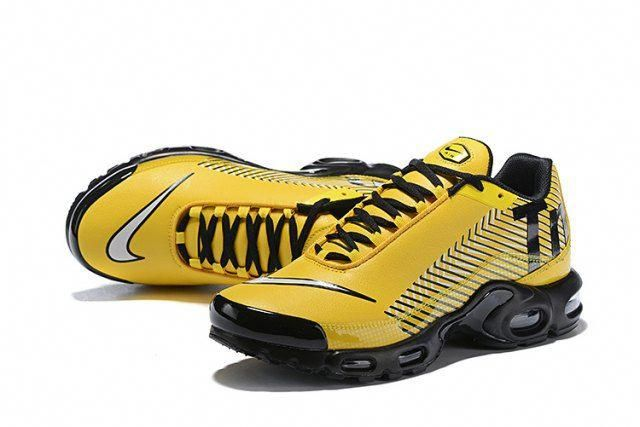 0b4f18f52 Nike Mercurial TN Air Max Plus Yellow Black White Sneakers Men's Running  Shoes - ShoesExtra.