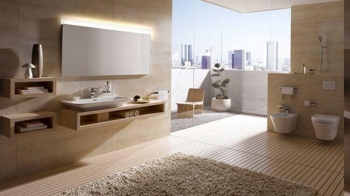 Bad Ideen Holzboden, Spiegel Ohne Rahmen, Badezimmer Gestalten Beige,  Kleine Wandregale Mit Dekorativen