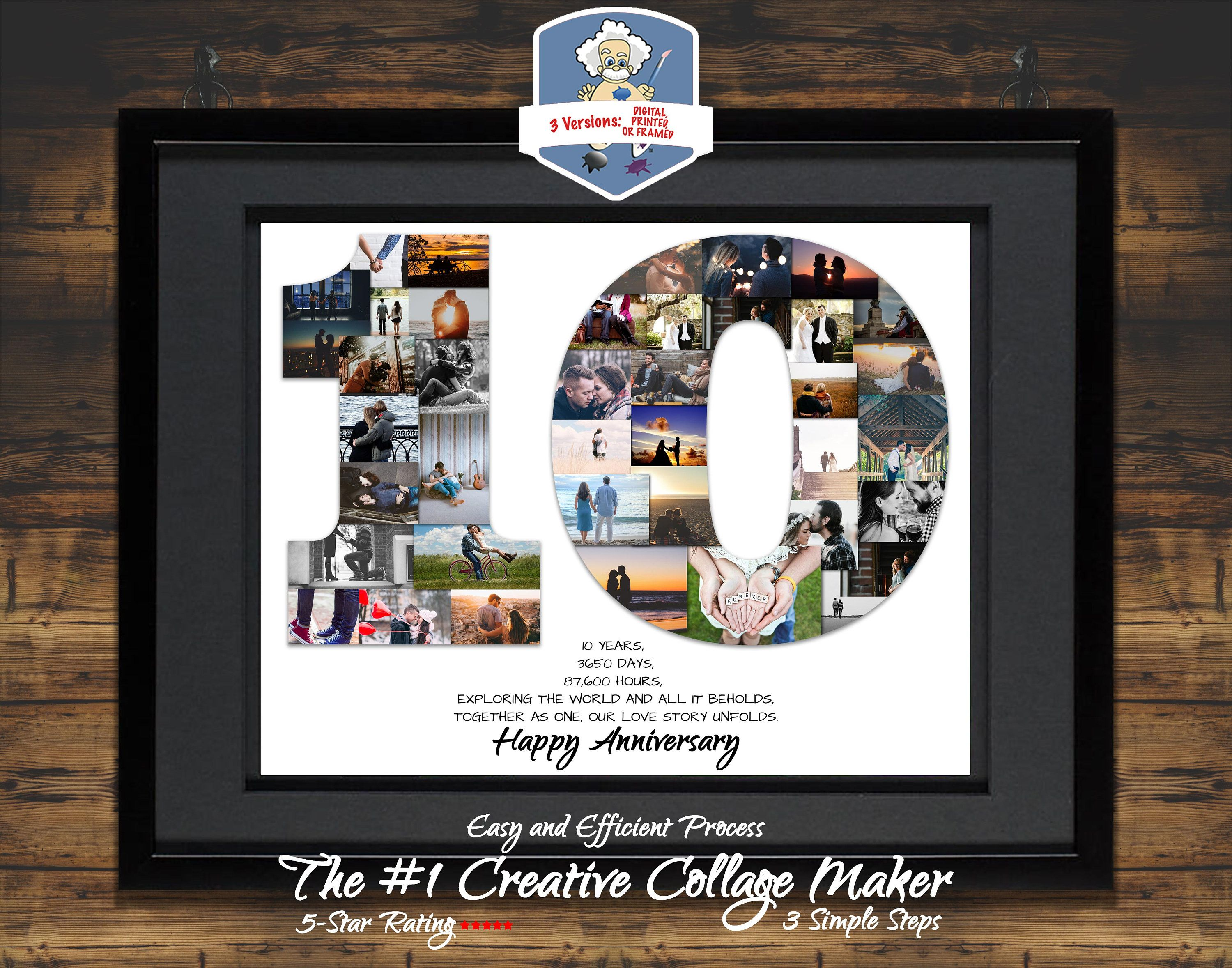 10th Anniversary Photo Collage 10th Anniversary Collage 10th Anniversary Gift 10 Year Annivers Birthday Photo Collage Birthday Collage Photo Collage Gift