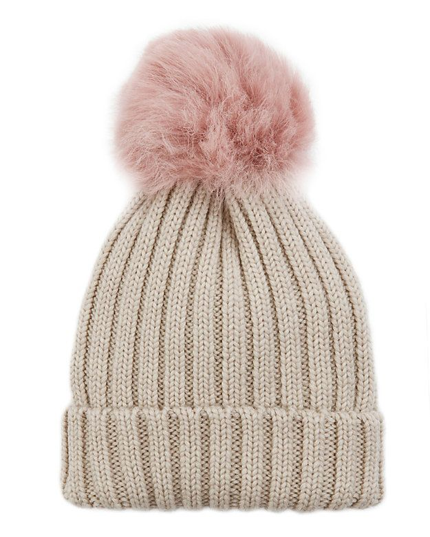 Jocelyn Pink Shearling Lamb Pom Hat  A shearling pom tops the knit hat. In  oatmeal pink. Fabric  100% wool Trim  100% real dyed shearling lamb   Origin a0384827107