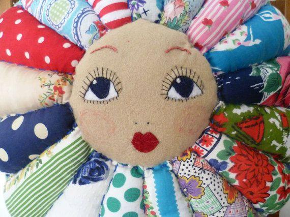 AUTUMN SALE Flower Doll Face Vintage door forgottenstitches