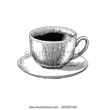 coffee cup hand drawing engraving stylecoffee cup antique style