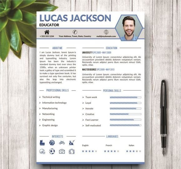Stylish Resume Template for MS Word by @Graphicsauthor | Resume CV ...