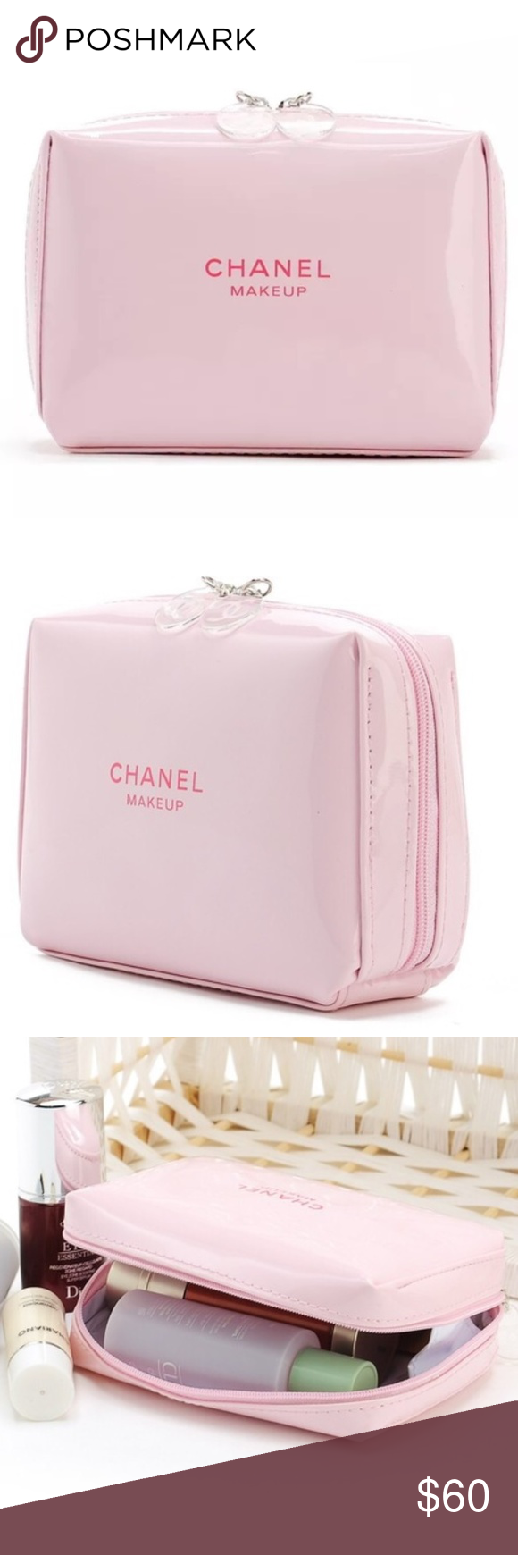 NEW CHANEL Pink Patent Leather Makeup Pouch Bag LAST ONE