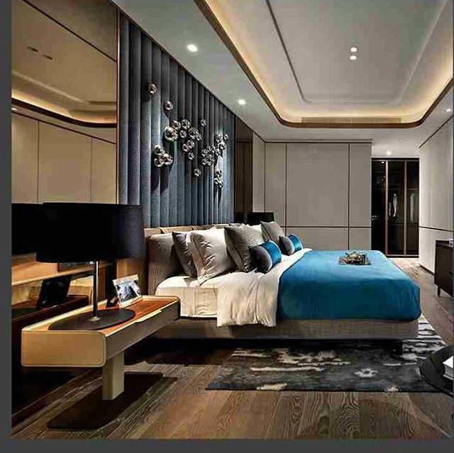 Bedroom Design English Style Home Furniture Bedroom Sets Blue Decor For Bedroom Interior Design Of Bedroom: Designer Bedroom With A Blue Bed. #interior #bed #blue