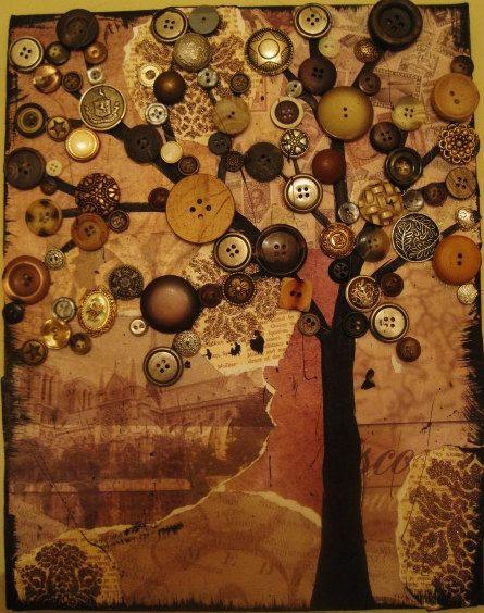 Button Tree Art On Canvas