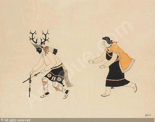 TSIREH Awa (Alfonso Roybal - A woman chasing a Deer dancer kp