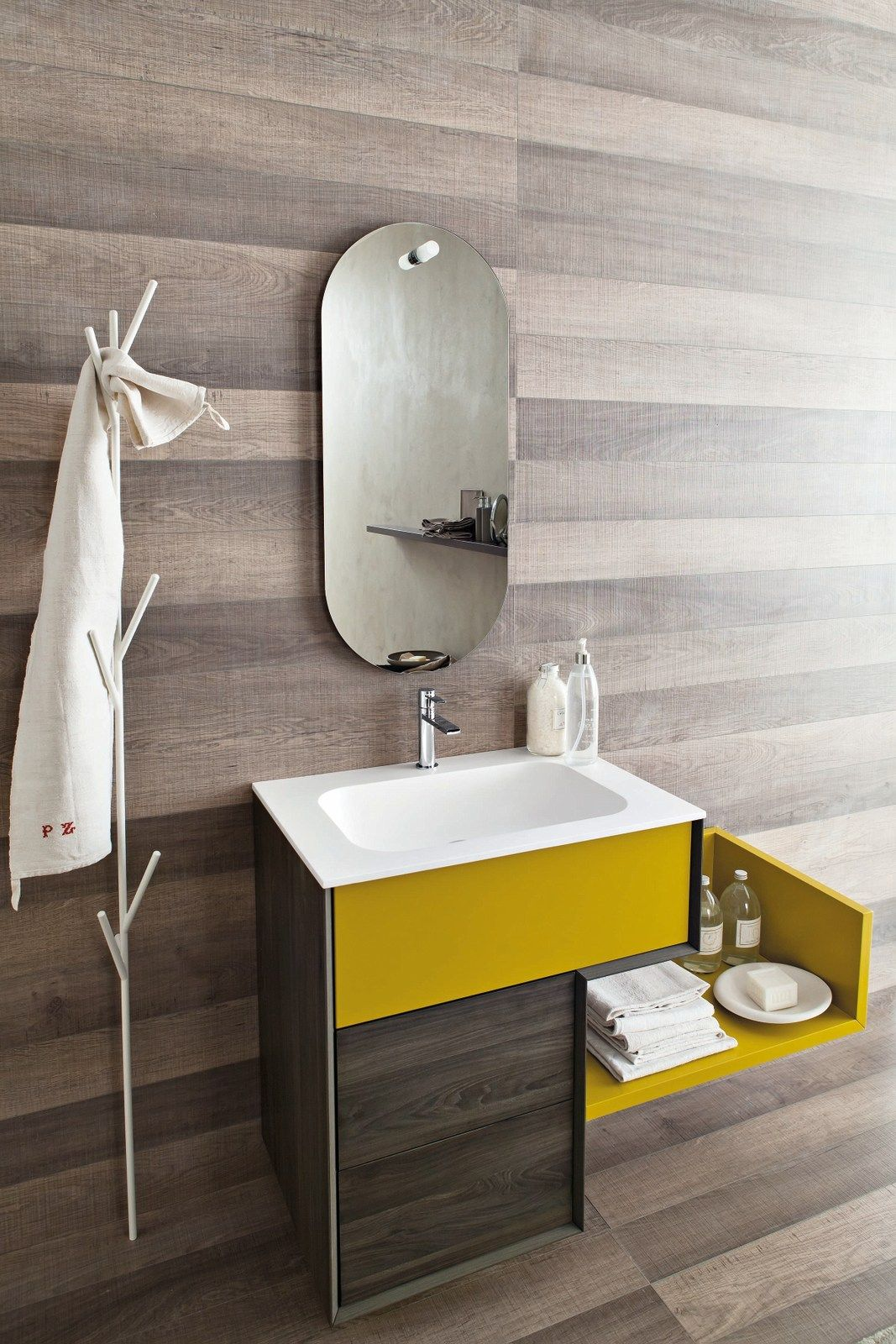 Single Hpl Vanity Unit With Mirror Libera 3d Composition L09 By Novello Design Gian Vittorio Plazzo Stylish Bathroom Bathroom Design Modern Luxury Interior