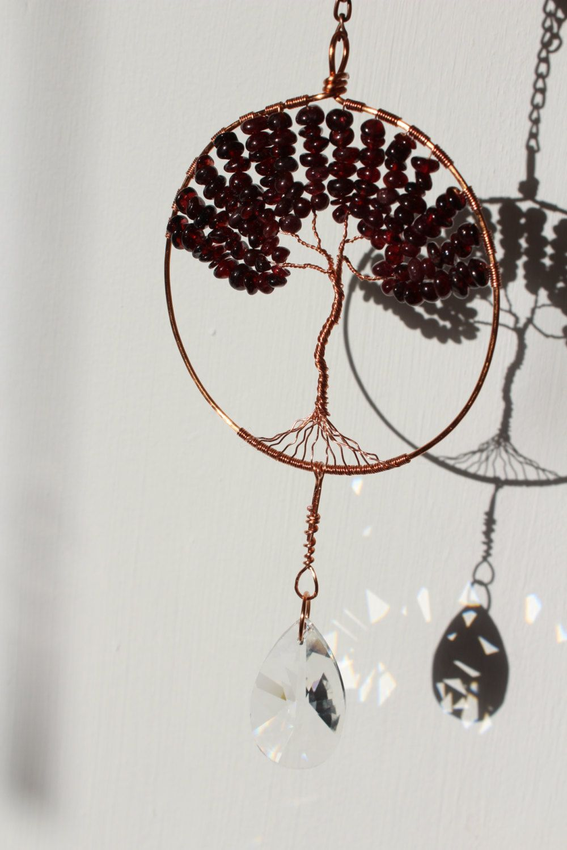 Garnet Copper Tree Of Life Crystal Suncatcher, Crystal Prism -Window ...