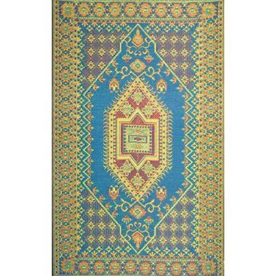 Mad Mats Oriental Turkish Indoor Outdoor Floor Mat 5 By 8 Feet Aqua Patio Lawn Garden