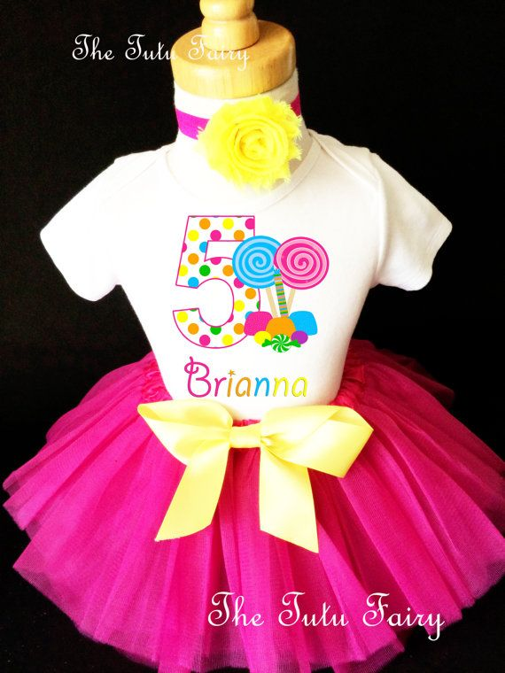 3c847aae So Sweet to be Candy Candyland Lollipops Pink Rainbow 5th Fifth Girl  Birthday Tutu Outfit Custom Personalized Name Age Party Shirt Set